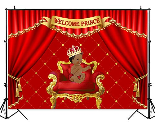 (Mehofoto Royal Red Baby Shower Backdrop Little Prince Red Curtain Photography Background 7x5ft Vinyl Royal Baby Shower Party Banner Decoration Backdrops)