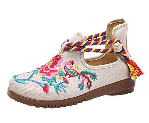 Insun Femme Espadrilles Toile Brodé Chaussures Plates Lacets Mary Janes Beige AHpmCWHL0