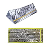 Emergency Shelter Survival Sleeping Bag 2-in-1 Mylar Reflective Bivy 8ft x 5ft Outdoor Emergency Sleeping Bag 79 x 39 inches All Weather First Aid Supplies Silver Reflective Material Prevent Heat Loss