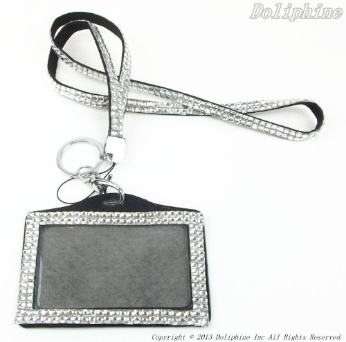 Multi Colors Rhinestone Crystal Bling Necklaces LANYARDs Keychain Key Holder &  Horizontal ID Badge Holder (Clear)