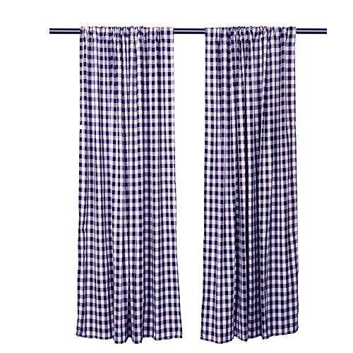 LGHome Christmas Buffalo Check Window Curtains, Pack of 2, Check Blackout Curtains for Bedroom/Living Room Decoration, Navy Blue and White, 53x96inch (Plaid Blackout Curtains)