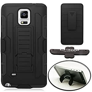 [STOP&ACCESSORIZE] BLACK DUAL LAYER HOLSTER COVER SHIELD KICKSTAND CASE for SAMSUNG GALAXY NOTE 4 + FREE U KICKSTAND