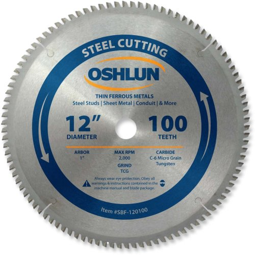 Oshlun SBF-120100 12-Inch 100 Tooth TCG Saw Blade with 1-Inch Arbor for Mild Steel and Ferrous Metals
