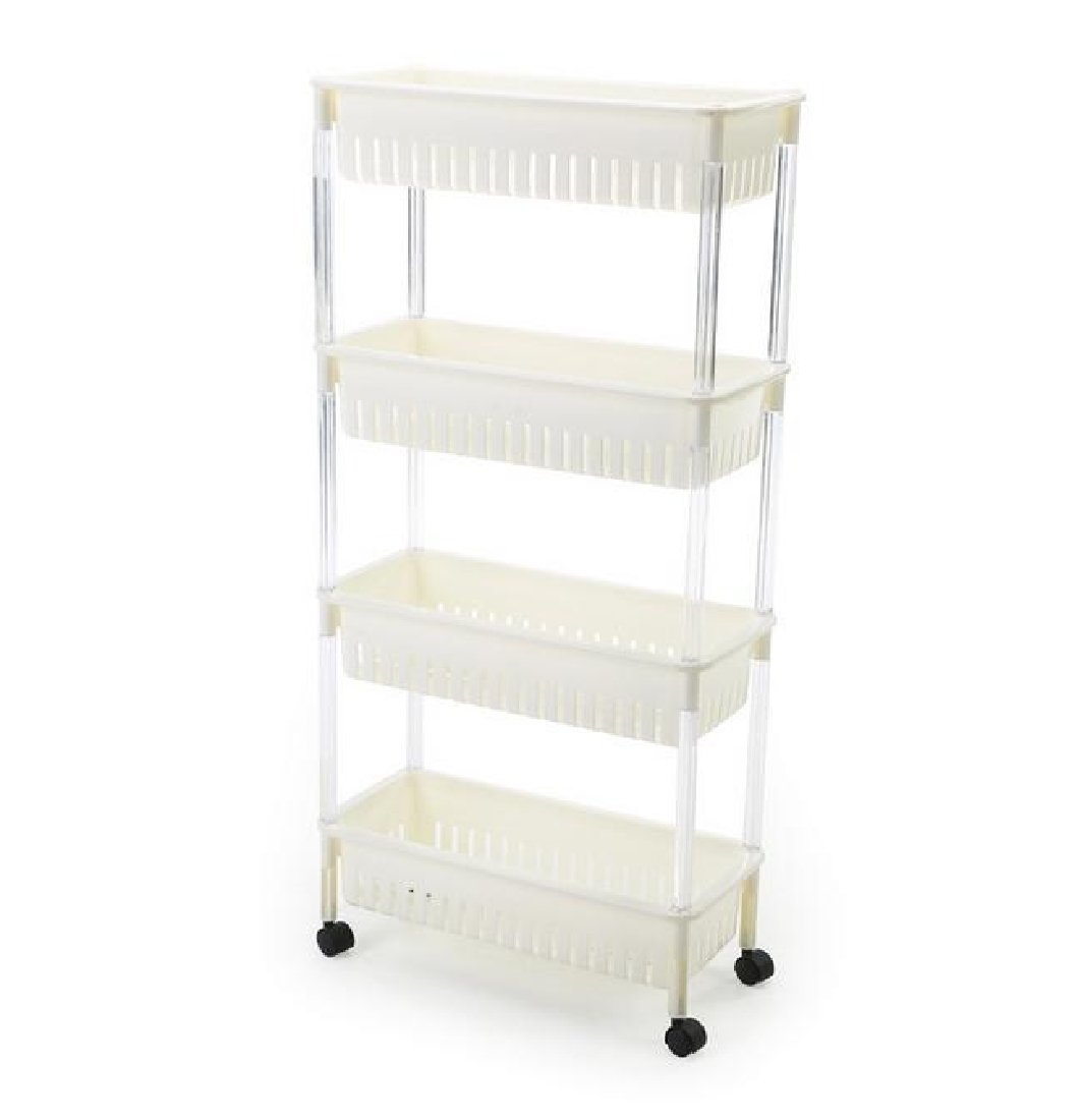 Tootless Shelving Unit Hot Sale Wide Open Wheels Organizer System Metal Wrap Wire Purpose Shelves White 3 shelves