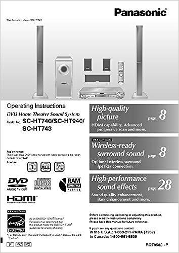 Panasonic SA-HT740 SA-HT743 SA-HT940 Home Theater System Instruction