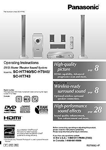 panasonic sa ht740 sa ht743 sa ht940 home theater system instruction rh amazon com Panasonic Surround Sound System SA HX150 Panasonic Home Theater System Manual