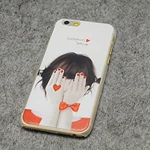 QJM Shy Girl Style Painted Relief Plastic Hard Back Cover for iPhone 6