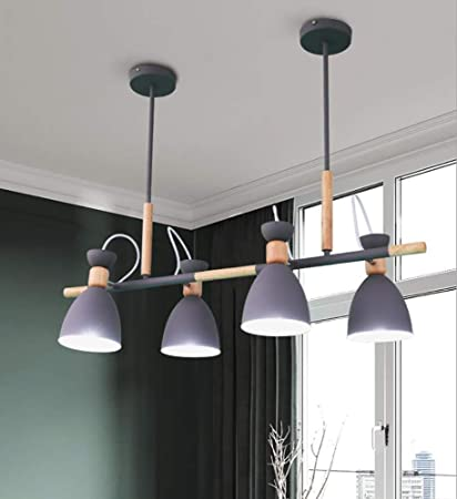 Amazon Com L Hpt Ceiling Lighting Living Room Modern Raw Wood Macaron Chandeliers Lampshades Ajustable Simply Stunning Effect For Decking Patio Dining Room Bedroom Hotel Hallway Without Bulb Gray Sports Outdoors