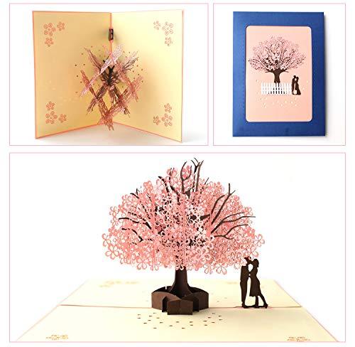 Dreamen valentines days Love Romantic sakura lover pop-up cards craft 3D Greeting Card, Wedding Invitation Card Lovers birthday Couple's Happy Anniversary (Romantic -