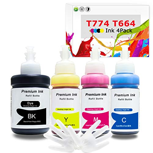 Printers Jack Refill Ink Bottle for Epson T774 T664 Compatible EcoTank Ink Bottle for Epson Expression ET-2650 ET-2550 ET-2600 ET-2500 ET-3600 WorkForce ET-4500 ET-4550 ET-16500[Upgraded]