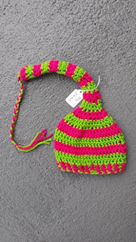 Elf style braided tail stocking a for baby. SIZE 3 to 6 months. HOT PINK AND LIME GREEN colors. Ready to ship. VIEW all our listing for other colors and sizes. from Heartmade Crafts