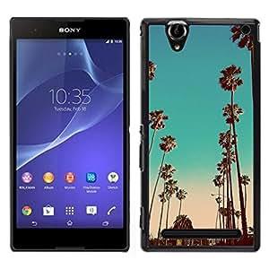 Miami la noche del trullo California Pink Palms - Metal de aluminio y de plástico duro Caja del teléfono - Negro - Sony Xperia T2 Ultra