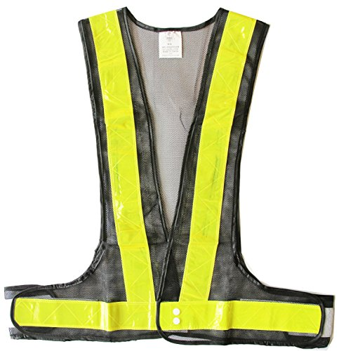 LW Reflective Safety Vest for Running Jogging Cycling Biking Walking Exercising Black Mesh (S/M)