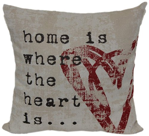Brentwood 8022 Wordsmith Pillow, Home is Where The Heart Is, 18-Inch by Brentwood