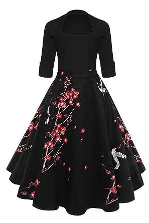 aeacd20ed66 Befily Womens Vintage 1950s  Retro 3 4 Sleeve Party Dress Lapel ...