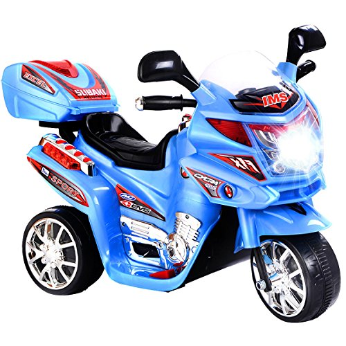 GHP Kids 55-Lbs Capacity 3 Km/Hr Speed Blue 3-Wheeled Plastic Ride On Motorcycle ()