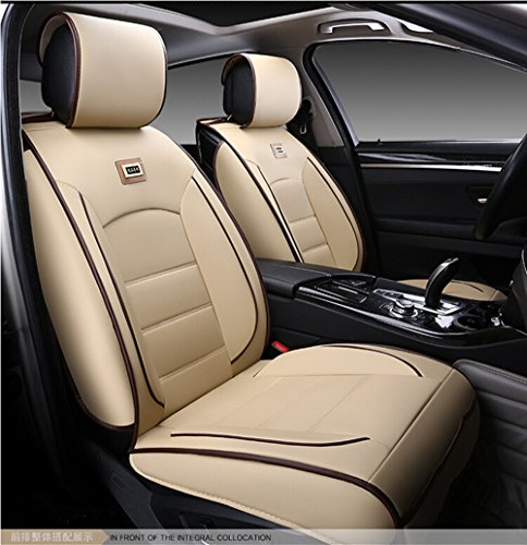 (Luxurious Airbag Compatible Universal Full Set Needlework PU leather Dacron Fabric Front Rear Car Seat Cushion Seat Covers for Honda Civic Accord 6PCS Beige)