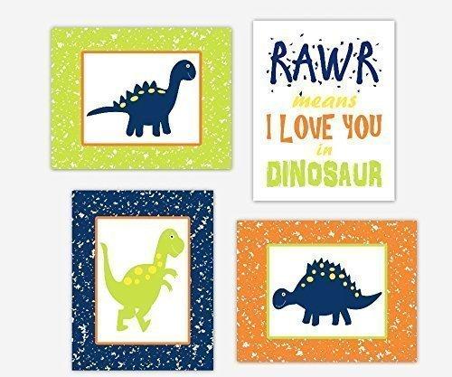 Incroyable Dinosaur Wall Art Prints Navy Blue Lime Orange Baby Boy Nursery RAWR Means  I Love You