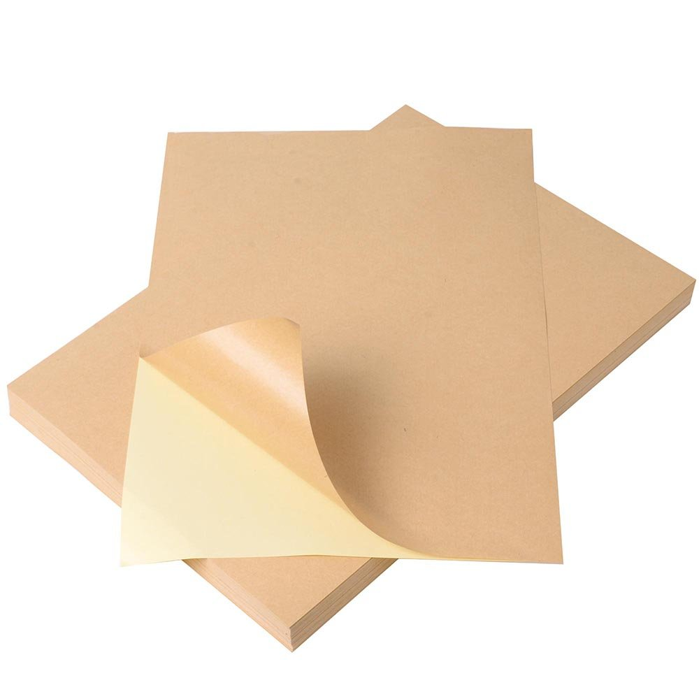Yescom A4 Blank Kraft Label Sticker Printable Self Adhesive Paper for Inkjet Printer Hand Craft(Pack of 100)