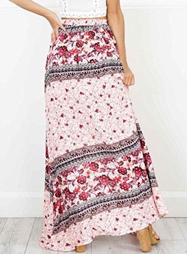 Maxi Bohemian Floral Skirt Achicgirl Women's Pink Slit Printed High RFwZRpxPqY