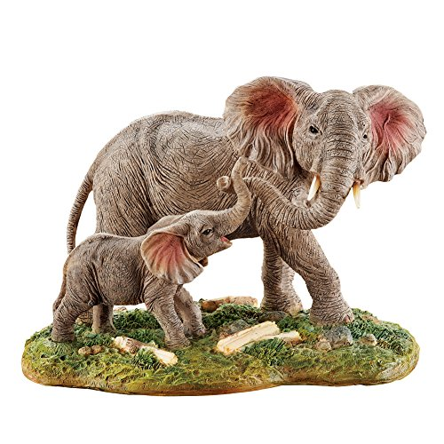 (Collections Etc Mother and Baby Elephant Figurine with Hand Painted Details for Tabletop, Animal Home Décor )