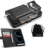 DRUnKQUEEn S8 Case, Galaxy S8 Case, Premium Slim Wallet Zipper Clutch Leather Credit Card Holder Purse Flip Type Removable Case - Detachable Magnetic Back Cover for Samsung Galaxy S 8 - Black
