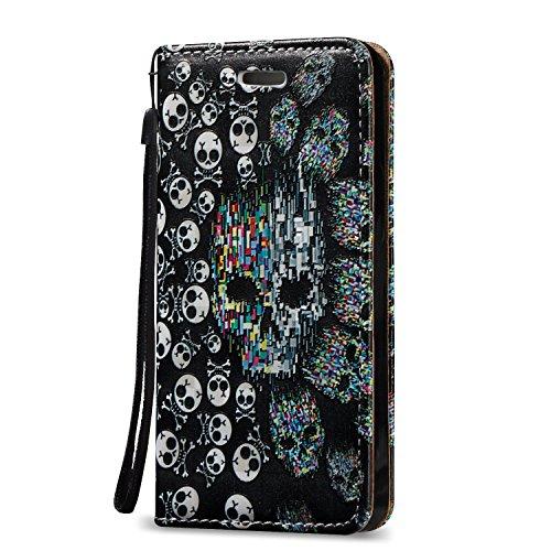 Voguecase® Pour Apple iPhone 5 5G 5S Coque, Magnetische Étui en cuir synthétique chic avec fonction support pratique pour Apple iPhone 5 5G 5S (crâne 10)de Gratuit stylet l'écran aléatoire universelle