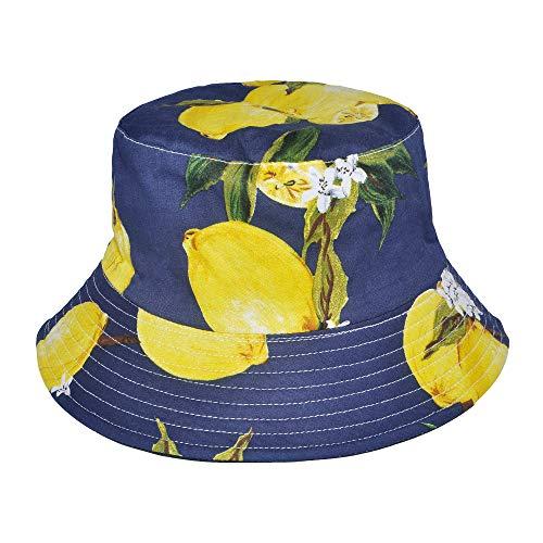 ZLYC Unisex Cute Print Bucket Hat Summer Fisherman Cap (Lemon)