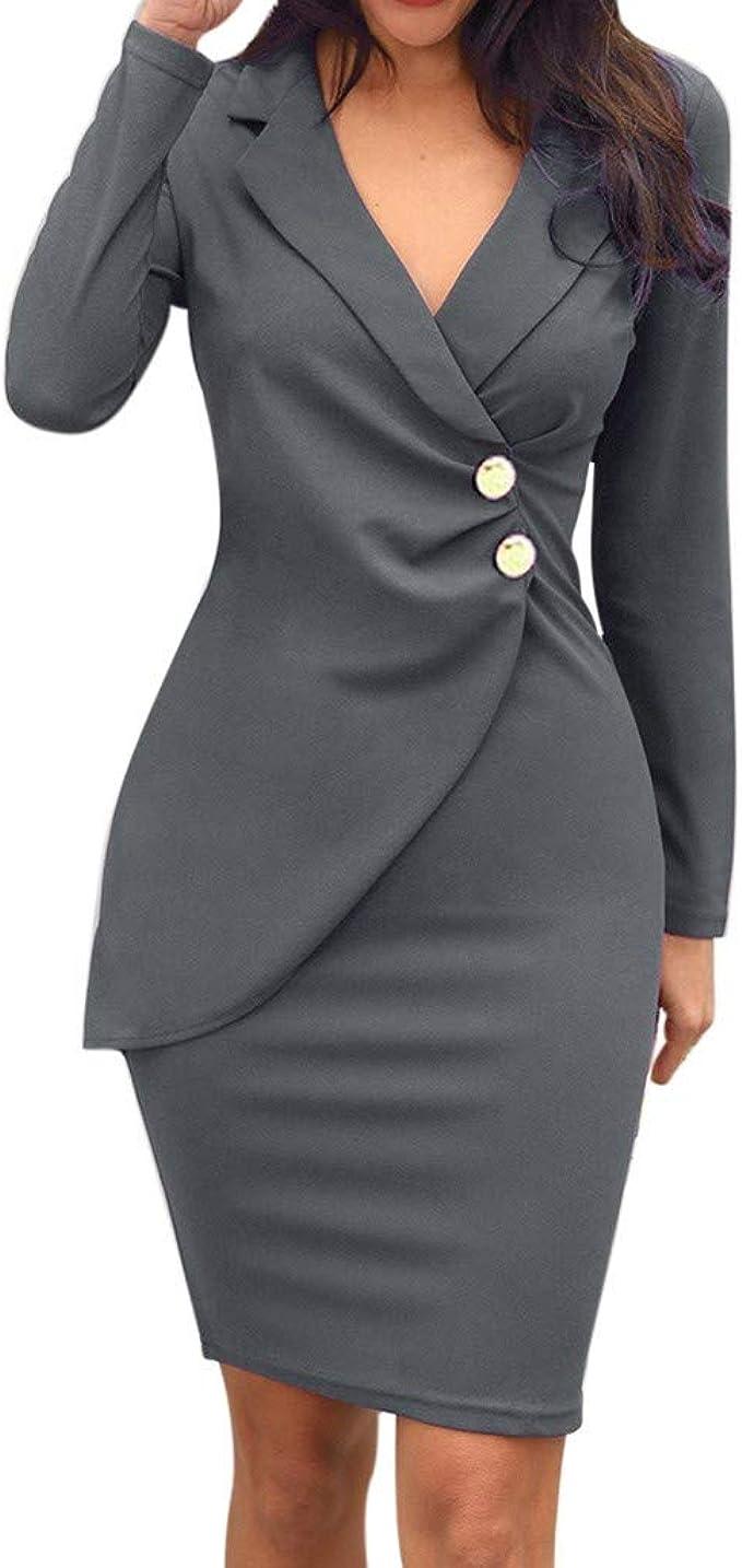 FRAUIT Damen Business-Anzug Kleid Langarm Lange Anzug Jacke