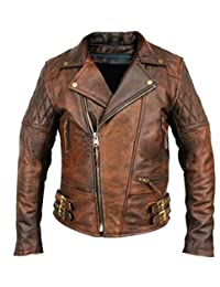 Leather Hub Men's Lambskin Vintage Distressed Brown Leather Biker Jacket