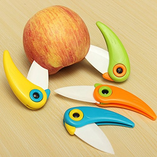Cute Bird-shaped Folding Mini Ceramic Knife Kitchen Tool Vegetable Fruit Knife Random Color by Ozone48 from Ozone48