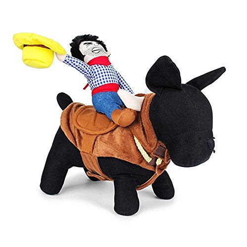 [CUPET Funny Pet Christmas Costume, Novelty Pet Supplies Cowboy Rider Horse Riding Designed with Money Purse Outfit Apparel Christmas Dress Up Decoration Prop Gift for Cat Dog Puppy] (Dog Outfits For Christmas)