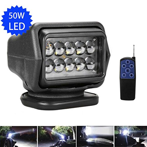 LED Rotating Remote Control Search Light 50W 12-24V 360º Cree Working...