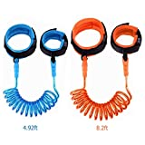 Toddler Wrist Leash, 2 Pack Anti Lost Wrist Link Child Safety Harness Wrist Band Straps Gift for Kids Outdoor Activities 2.5M Orange + 1.5M Blue