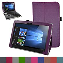 "Lenovo MIIX 310 Case,Mama Mouth PU Leather Folio Stand Cover for 10.1"" Lenovo MIIX 310 Windows 10 Detachable 2-in-1 Laptop/Tablet,Purple"