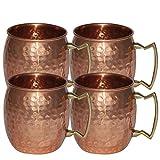 OliaDesign Handmade Hammered Moscow Mule Mug (Set of 4), 16 oz, Copper