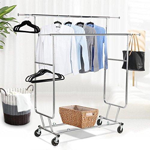 Topeakmart Commercial Grade Adjustable Double-Rail Clothing Hanging Rack on Wheels Rolling Garment Rack Drying Rack w/wheels,Chrome Finish