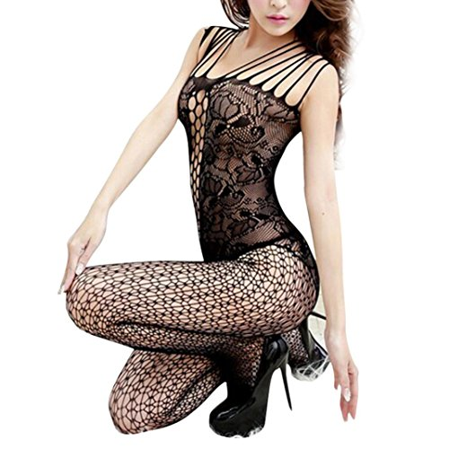 [YIWULA New Sexy Woman Open Crotch Mesh Fishnet Bodystocking Stocking Lingerie (Black)] (Sexy Men In Uniform)