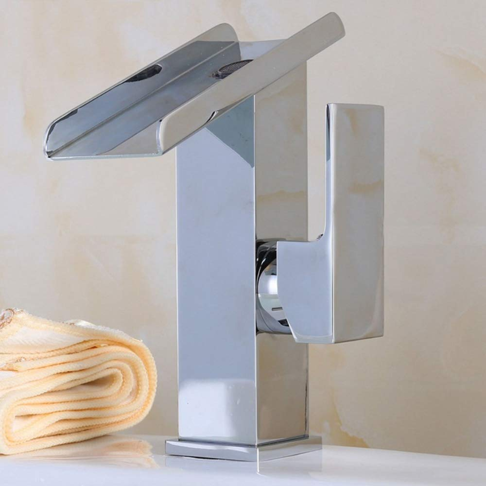 Short BILLY'S HOME Single handle one hole waterfall bathroom sink faucet, widespread hot and cold basin mixer tap with large rectangular spout