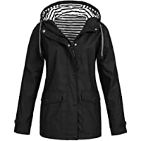 OSYARD Rain Jacket Women Windbreaker Striped Climbing Raincoats Waterproof Lightweight Outdoor Hooded Trench Coats Winter Women Casual Coat