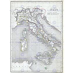 1845 CHAMBERS MAP ANCIENT ITALY ITALYANCIENT CHAMBERS 1845 POSTER PRINT 12x16 inch 30x40cm 2888PY