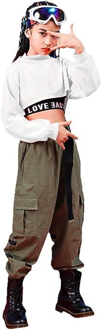 LOLANTA Filles Hip Hop V/êtements de Danse Enfants Tops Courts et Pantalons Cargo Ensemble de v/êtements /él/égants