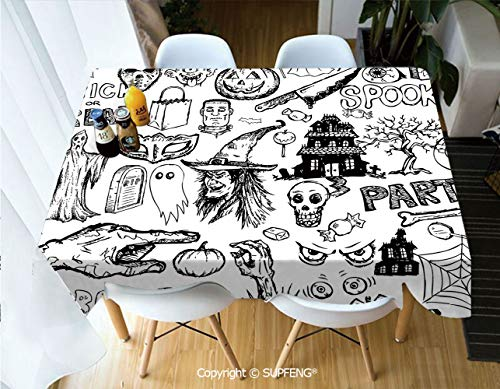 Square tablecloth Hand Drawn Halloween Doodle Trick or Treat Knife Party Severed Hand Decorative (60 X 104 inch) Great for Buffet Table, Parties, Holiday Dinner, Wedding & More.Desktop decoration.Pol