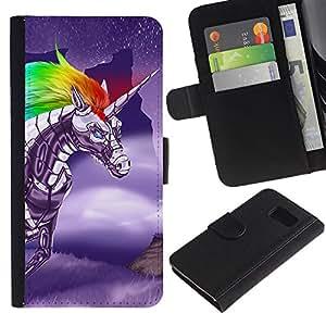 Samsung Galaxy S6 / SM-G920 , la tarjeta de Crédito Slots PU Funda de cuero Monedero caso cubierta de piel ( Unicorn Fairytale Magical Creature Sky Fly)