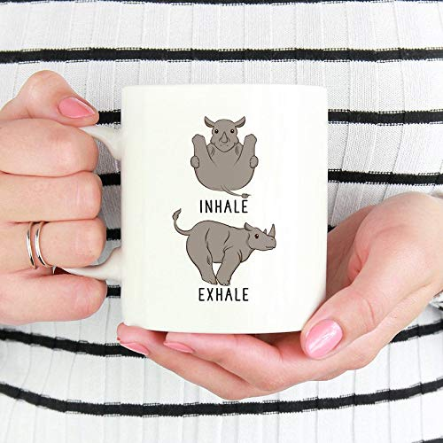 DKISEE Inhale Exhale Rhino Coffee Mug, Rhinoceros Yoga ...