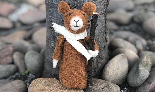 HANDMADE needle felted- Hiking Mouse- Animal art. (Needle Felted Mouse)
