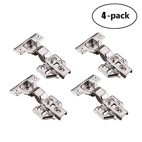 JQK Cabinet Hinges, 90 Degree Soft Closing Partical Overlay Door Hinge for Frameless Face Frame, Stainless Steel Nickel Plated Finish, 4 Pack -
