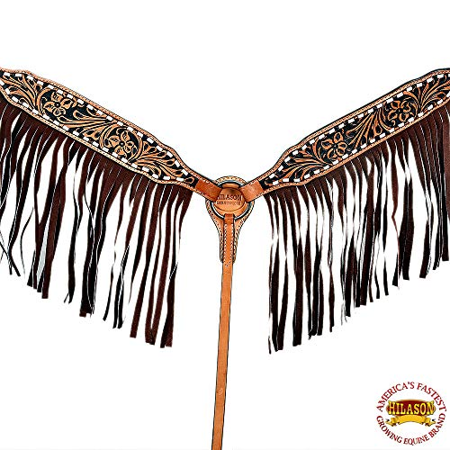 HILASON American Leather Horse Breast Collar Fringes Floral Buck Stitch