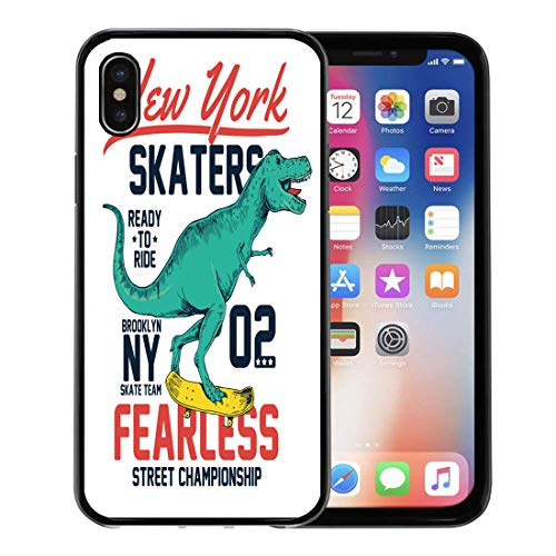 Semtomn Phone Case for Apple iPhone Xs case,Graphic Skater Dinosaur Character Skateboard Boy Kid Tee Funny for iPhone X Case,Rubber Border Protective Case,Black