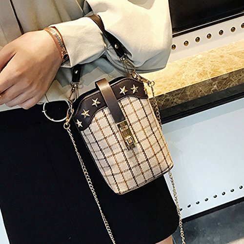 Handbag Pattern Clutch Women body Purse Cross Money Satchel Khaki Bag Phone Purse Bag Rivets Chain Plaid Stars 8qzw8v